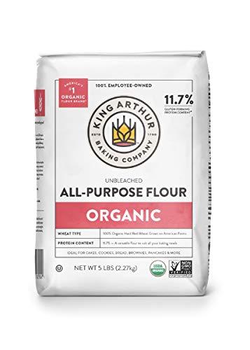 King Arthur Flour 100% Organic Unbleached All-Purpose Flour, 5 Pound (Pack of 6)
