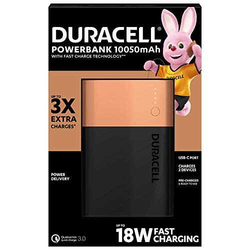 Duracell Powerbank of 10050 mAh, Mobile external battery with USB C and Fast Charge IN / OUT, Power Delivery 18W and Quick Charge 3.0 for Iphone, Samsung, Xiaomi and Devices with USB power