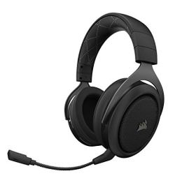 Corsair HS70 Wireless Gaming Headset - 7.1 Surround Sound Headphones for PC - Discord Certified - 50 Millimeter Drivers Carbon