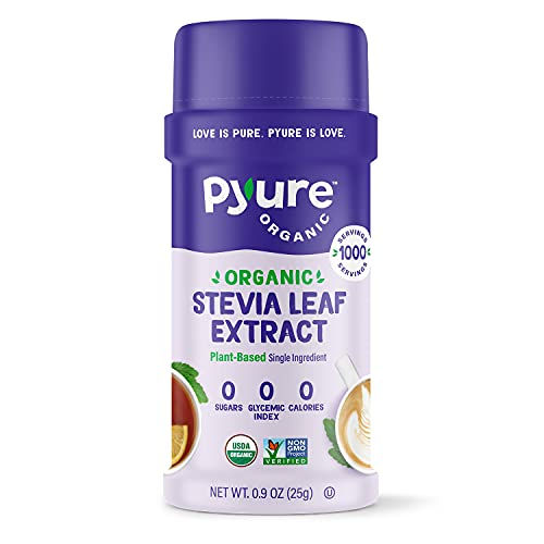Pyure Organic Stevia Sweetener Extract Powder- 100% Stevia Leaf Extract, No Fillers, 300x Sweeter Than Sugar, 1,000 Servings