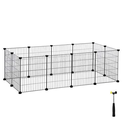 SONGMICS Enclos modulable pour Petits Animaux, Cage intérieur, Maillet en Caoutchouc Offert, Cochon d'Inde, Lapin, Assemblage Facile, 143 x 73 x 46 cm (L x l x H), Noir LPI01H