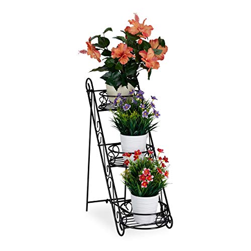 Relaxdays Blumentreppe Metall, 3 Ablagen, dekorativ, Pflanzentreppe Indoor & Outdoor, HBT 53,5 x 20 x 45,5 cm, schwarz