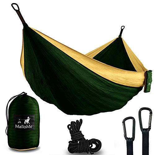 XL Double Parachute Camping Hammock - Tree Portable with Max 1000 lbs Breaking Capacity - Lightweight Carabiners and Ropes Included for Backpacking, Camping, Hiking, Travel, Beach, Yard, 125' x 79'