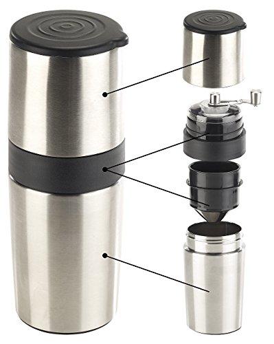 Rosenstein & Söhne Reise Kaffeemaschine: 3in1-Edelstahl-Kaffeebereiter mit Kaffeemühle und Dauerfilter, 450 ml (Reisekaffeemaschinen)