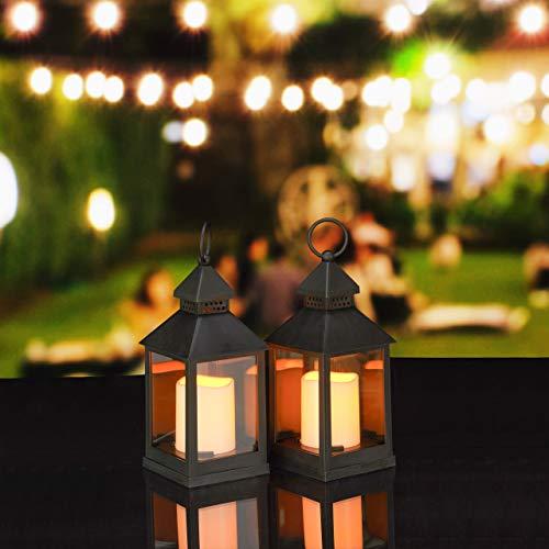 Relaxdays LED Laternen 2er Set, Kerze mit Flammeneffekt, Outdoor geeignet, nostalgische Deko-Laterne, H: 23 cm, schwarz