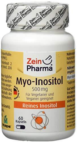 ZeinPharma Myo-Inositol 500 mg 60 Kapseln (Monatspackung) Glutenfrei, vegan, koscher & halal Hergestellt in Deutschland, 36 g