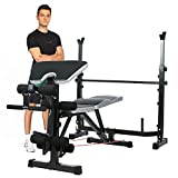 Olympic Weight Bench Multi-Function Adjustable Weight Bench with Preacher Curl Leg Developer Lifting Press Exercise for Full-Body Workout Home Gym Adjustable Weightlifting Bed (Gray)