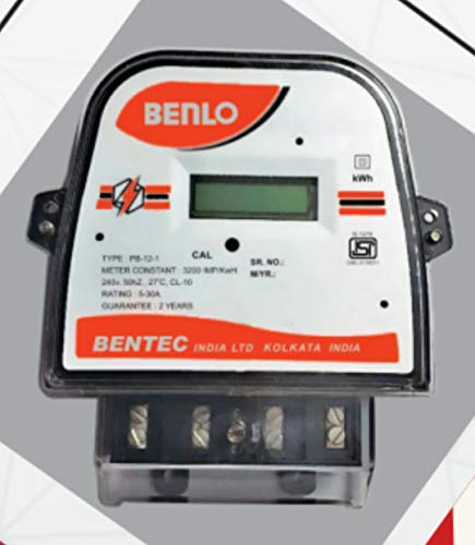 CRIC Benlo Electronic Energy Sub Meter AC Single Phase 2-Wire Static kWh (LCD Type) Display Class-1 5-30 Ampere, Small, White