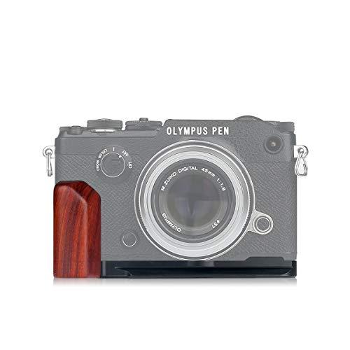 WEPOTO GP-ECG4R赤檀木製カメラグリップメタルブラケットハンドルL-ブラケット for OLYMPUS PEN-F適用