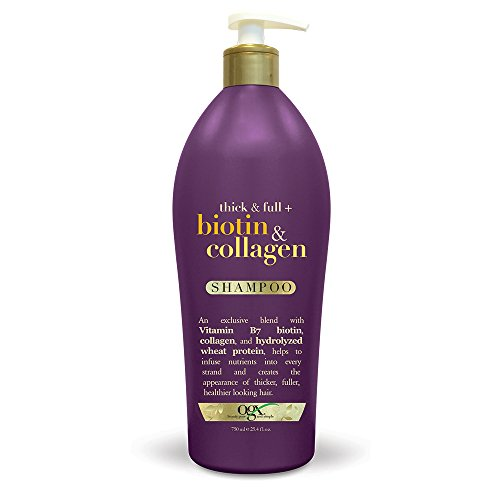 OGX Thick & Full Biotin & Collagen Shampoo, Salon Size 25.4 Ounce Bottle w/ Pump, Paraben Free, Sulfate Free, Sustainable Ingredients, Nourishing and Strengthening