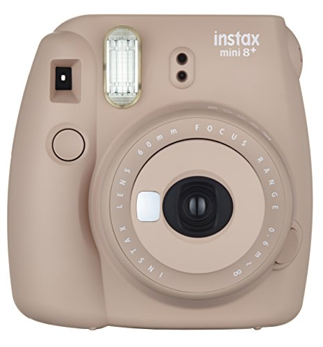 FUJIFILM インスタントカメラ チェキ instax mini8プラス 接写レンズ・純正ハンドストラップ付き ココア INS MINI 8P COCOA