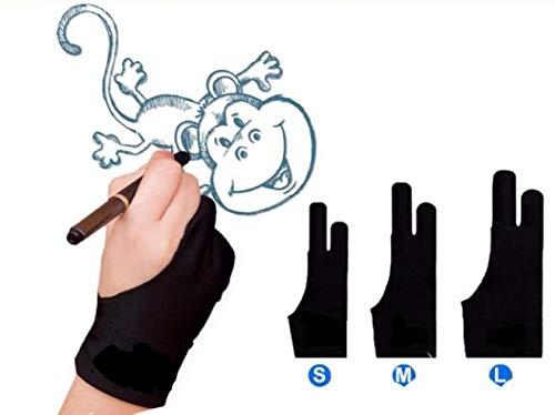 Guanti da disegno con due dita elastici Lycra anti-fouling guanto per tablet da dipingere per...