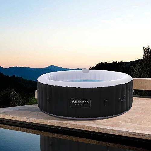 Arebos Whirlpool Rome | aufblasbar | In- & Outdoor | 6 Personen | 130 Massagedüsen | mit Heizung | 1.000 Liter | Inkl. Abdeckung | Bubble Spa & Wellness Massage