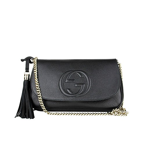 Made of Leather, Flap closure, Light gold hardware, Black leather tassel Embossed interlocking G, One slip pocket, One zip pocket; Handle drop 4 inches Measurements: 11 L x 7 H x 6 2.5 W inches; Shoulder strap drop 21 inches