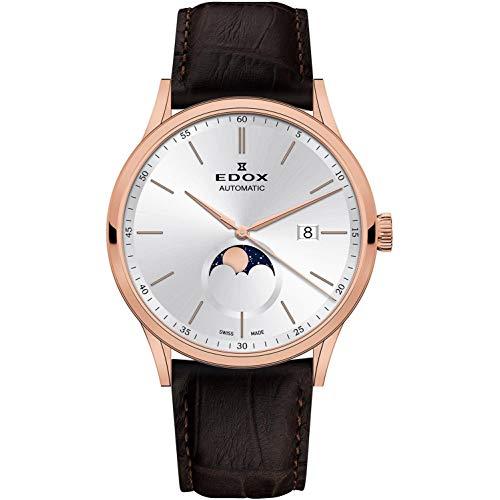 Edox Les Vauberts Herren-Armbanduhr 42mm Armband Leder Braun Gehäuse Edelstahl Automatik 80500 37R AIR