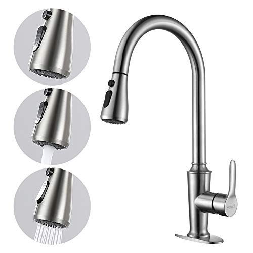 Opiucl Kitchen Faucet with 3 Modes Pull Down Sprayer Single Handle High Arc Brushed Nickel Kitchen Sink Faucet with Deck Plate Single Level Stainless Steel Utility Sink Faucets for Laundry