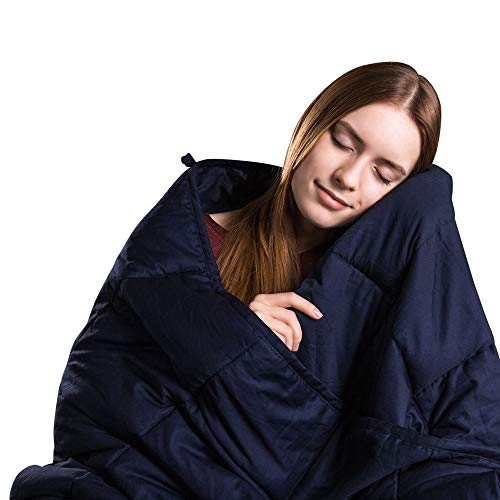 Class Cotton Weighted Blanket for Adult (80X87, 25 lbs, King Size, Navy Blue) Organic Cooling Cotton & Premium Glass Beads – Designed in USA - Heavy Cool Weighted Blanket for Hot & Cold Sleepers