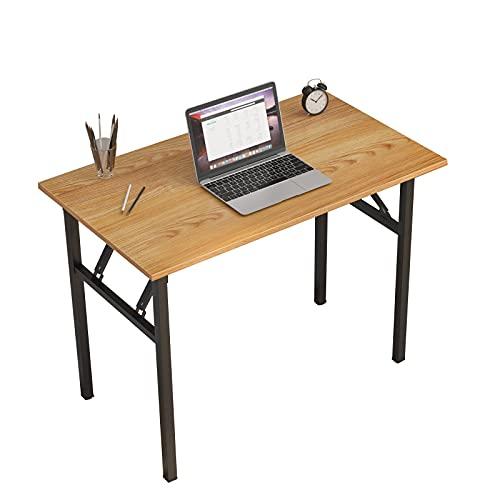 sogesfurniture Schreibtisch Klapptisch, 100x60cm Computertisch Bürotisch Konferenztisch Arbeitstisch PC Tisch Klappbar für Zuhause, Büro, Picknick, Garten, Teak&Schwarz BHEU-LP-AC5YB-100