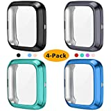 KIMILAR 4-Pack Screen Protector Case Compatible with Fitbit Versa 2, TPU Rugged All-Around Screen Protective Case Bumper Soft Plated Shell for Versa 2 Smartwatch