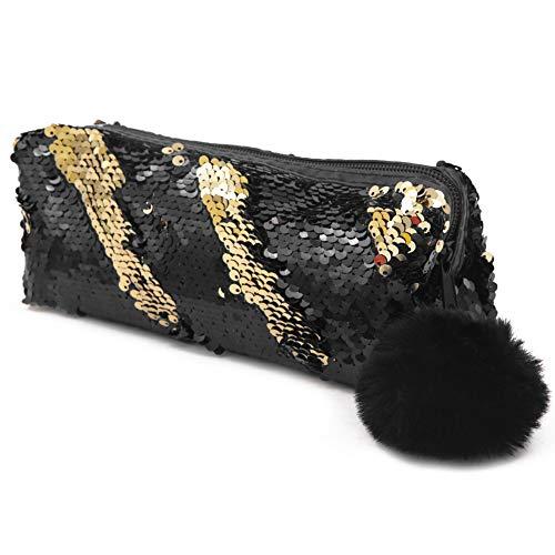 Grande astuccio reversibile con lustrini, per la scuola, con glitter Black+Gold