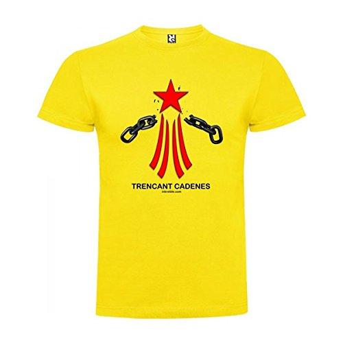 Camiseta Catalunya Via Catalana Trencant Cadenes Manga Corta Hombre Amarillo M