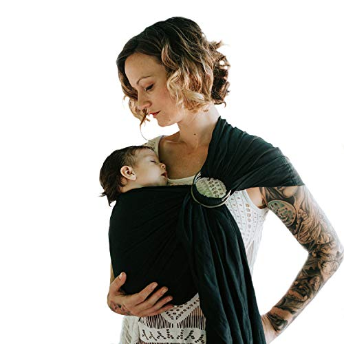 Nalakai Luxury Ring Sling Baby Carrier  Extra-Soft Bamboo and Linen Fabric - Lightweight wrap - for Newborns, Infants and Toddlers - Perfect Baby Shower Gift - Nursing Cover (Midnight Black)