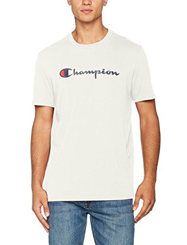 Champion Herren Classic Logo T-Shirt, Dunkelweiß ES001, S