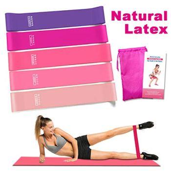 Victoper avec Guide d'Exercices, Sac de Transport, Set de 5 Bandes Elastiques Musculation, Elastique pour Fitness, Yoga, Pilates, Crossfit