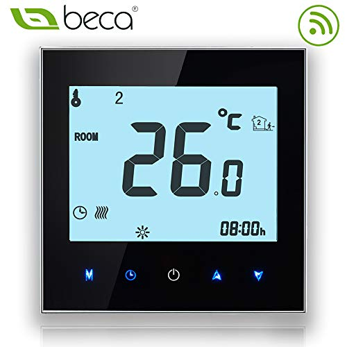 BECA 1000 Series 3 / 16A LCD Écran Tactile Eau / Électrique / Chaudière Intelligent Programmation Thermostat de Contrôle avec Connexion WIFI (Chauffage électrique, Noir)