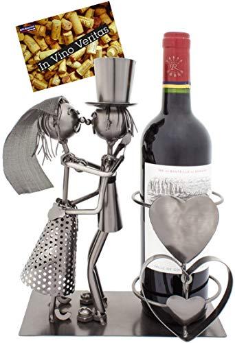 BRUBAKER Portabottiglie per vino dal design coppia Matrimonio - scultura in metallo con biglietto d'auguri