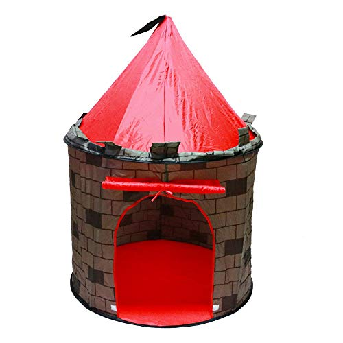 deAO Schnell zu montierendes Kinderzelt im Schlossdesign – Durch das Pop-up Design einfach zu montieren für Jungen und Mädchen