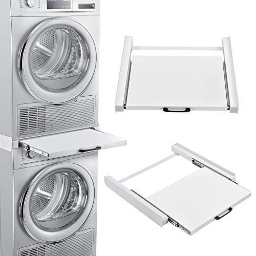[en.casa] Kit de Superposition Universel Cadre avec Tablette Coulissante pour Lave-Linge Sèche-Linge Standard 60 cm Machine à Laver Acier Laqué Blanc