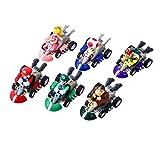 YNK 6 pcs/Set Mario Karts Jouet, Super Mario Figurine Mini-véhicule, Super...