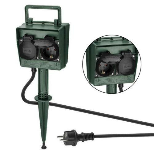Gartensteckdose 4-fach | IP44 | wasserfeste Außensteckdose | Outdoor 4x Steckdose Garten Stromverteiler | wetterfest | Außenbereich | mit Erdspieß | grün