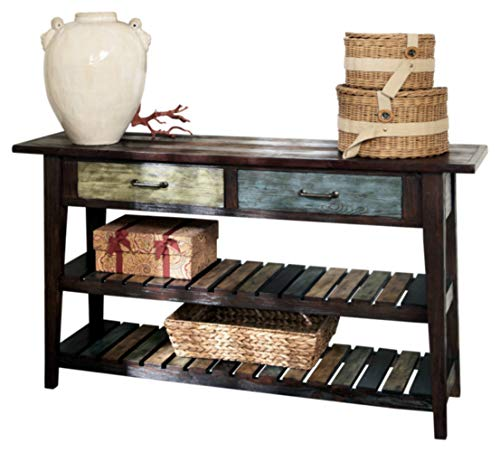 Signature Design by Ashley - Mestler Rustic Sofa Table w/ Two Fixed Multi-Colored Shelves, Brown