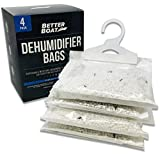 4 Pack Boat Dehumidifier Moisture Absorber Hanging Bags and Charcoal Deodorizer Remove Damp Musty Smell | Basement Closet Home RV or Boating