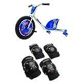 Razor RipRider 360 Caster Trike, Blue and Mongoose BMX Bike Gel Knee and Elbow Pads