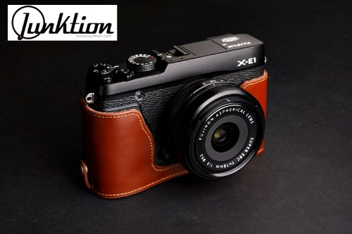 Hand Made Leather Camera Half Case For Fujifilm X-E1 / X-E2 with Hand Strap - Brown
