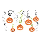 Halloween Hanging Pumpkins and Ghosts Foil Swirls Value Pack- Family Friendly- 12 Pack