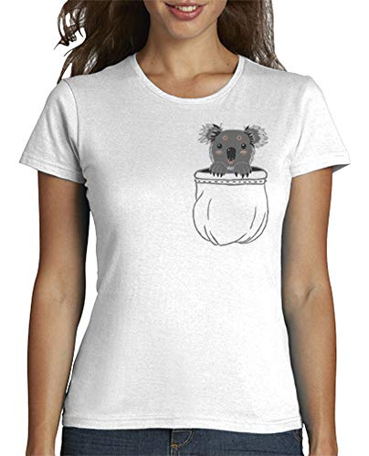 latostadora - Camiseta Koala para Mujer Blanco M