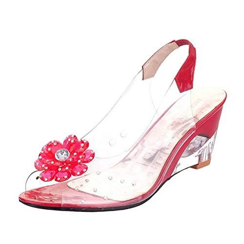 Minetom Sandalias Mujer Cuña Verano Plataforma Punta Abierta Flor Zapatos De Tacón Alto De Playa Fiesta Transparentes Sandalias De Cristal Rojo 36 EU