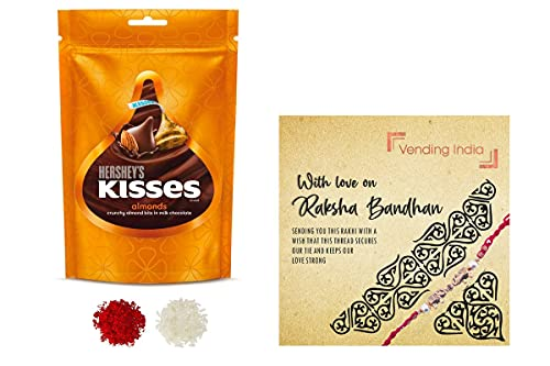 HERSHEY'S x Vending India Kisses Almond Pouch ( 2 x 100 g) with a Rakhi Card