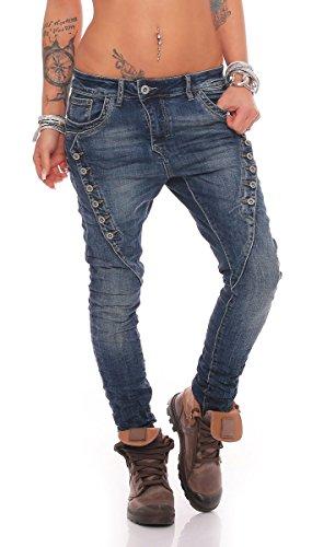 Fashion4Young MOZZAAR Damen Jeans Röhrenjeans Haremshose Hüftjeans...