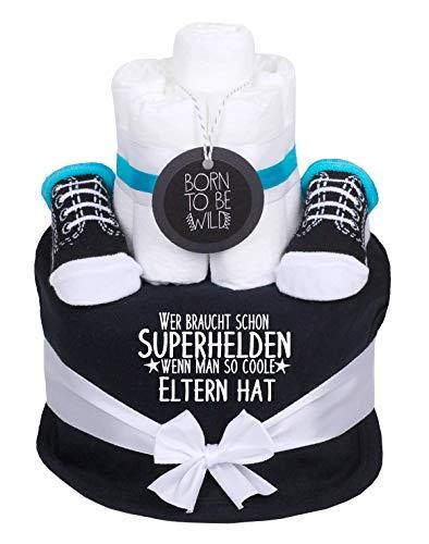 Trend Mama coole Windeltorte Junge schwarz- Babysocken + Lätzchen -Wer braucht schon Superhelden wenn man so coole Eltern hat