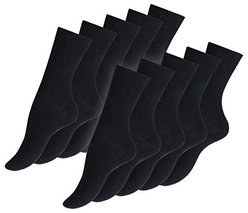 10paia di original Vca Calze da donna nero 100% cotone liscio, lavorato a maglia, punta a mano RIMAGLIATE Nero nero
