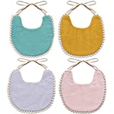 WIPALO Baby Bibs Cotton Absorbent Reversible Drooling Bibs Organic Cotton Toddler Bibs for Newborn...