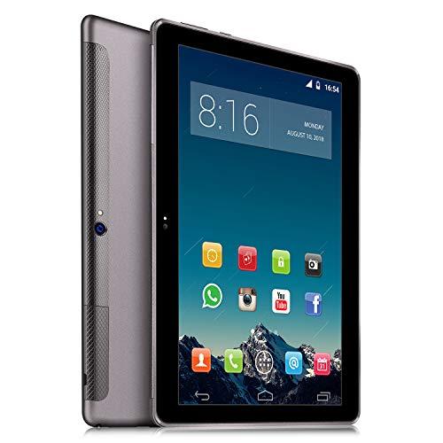 4G LTE Tablet PC 10 Zoll Dual SIM - TOSCIDO Android 9.0 Zertifiziert von Google GMS,Quad Core,64GM eMMC,4GB RAM,Doppelt Lautsprecher Stereo,WiFi/Bluetooth/GPS/OTG - Grau