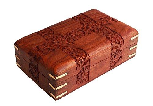 Store Indya, Mano con encanto de madera tallado decorativo de la baratija del joyero (15,2 X 10,2 X 6,4) cm, con tallas florales y esquinas de laton