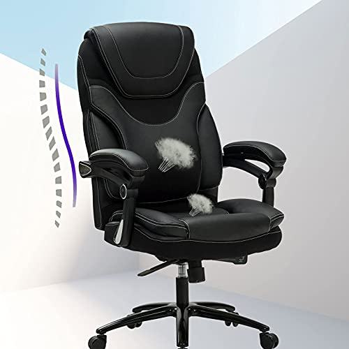 Product Image 8: KCREAM Office Chair,Adjustable Computer Chair PU Leather Swivel Task Chair Flip-up Armrests Ergonomic Desk Chair with Thick Padded Lumbar Support (9109-balck)