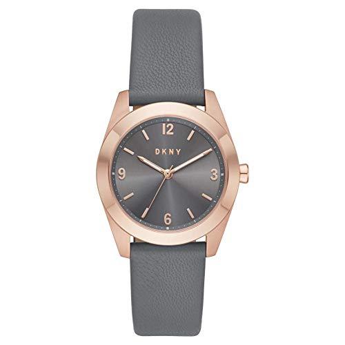 DKNY Damen-Uhren Analog Quarz One Size Grau Leder 87920682